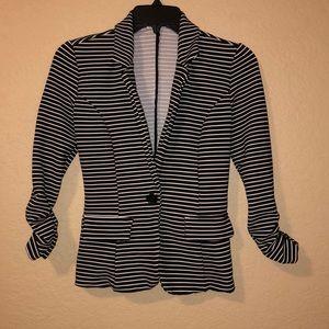 Black White Striped Blazer